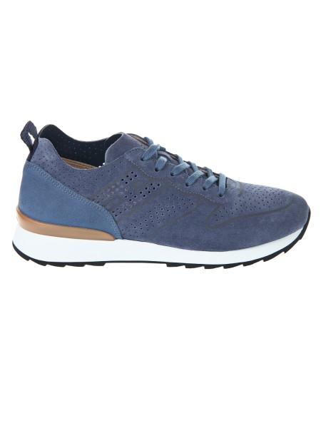 Shop HOGAN  Shoes: Hogan blue sneakers running R261. Upper in suede. Printed profiles. Details in nubuck. H side printed. Rubber sole. Fabric case included. Made in Italy.. HXM2610K200IHH-U803