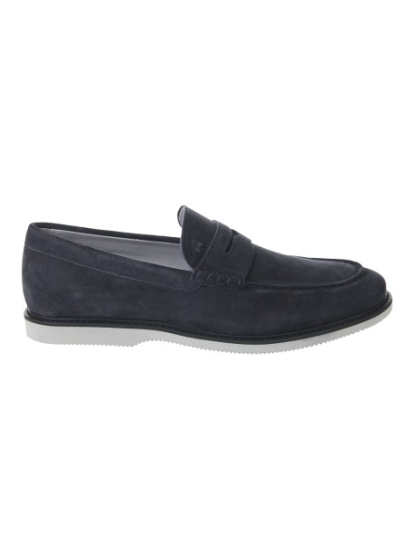 Shop HOGAN  Shoes: Hogan Club H316 moccasin in blue suede. Upper in suede. Monogram Hogan imprinted. Welt in leather. Rubber sole. Fabric case included. Made in Italy.. HXM3120R732HG0-U805