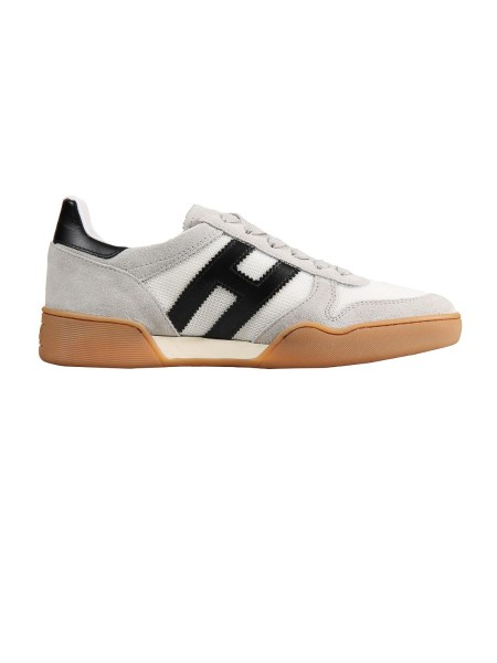Shop HOGAN Sales Shoes: Hogan H357 suede sneakers with technical fabric inserts, black  and white. Upper in suede. Leather details. 1.5 cm removable inner padding Side h in suede. Rubber sole. Fabric case included. Made in Italy.. HXM3570AC40IPJ-692T
