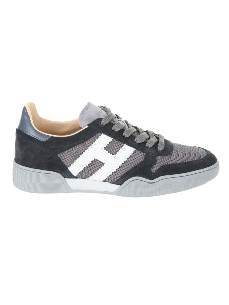 Shop HOGAN  Shoes: Hogan H357 suede sneakers with technical fabric inserts. Upper in suede. Leather details. 1.5 cm removable inner padding Side H in leather. Rubber sole. Fabric case included. Made in Italy.. HXM3570AC40IPJ-931F