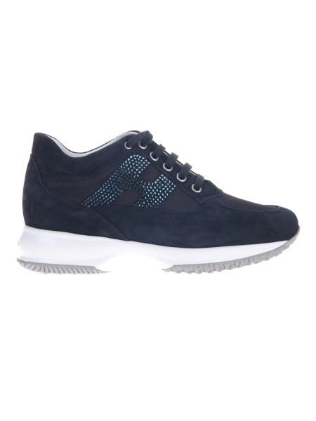 Shop HOGAN  Shoes: Hogan Interactive blue in suede. Upper in suede. Technical fabric inserts. H side in rhinestones. Removable Fussbett upside 2 cm. Rubber sole. Fabric case included. Made in Italy.. HXW00N02011FI7-0071