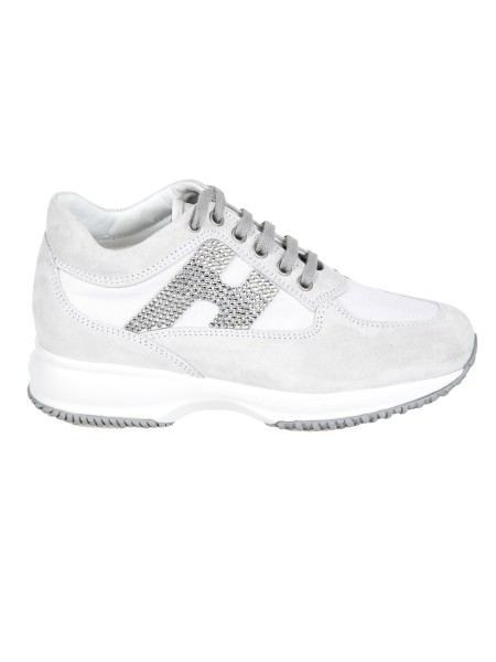Shop HOGAN  Shoes: Hogan Interactive white in suede. Upper in suede. Technical fabric inserts. H side in rhinestones. Removable Fussbett upside 2 cm. Rubber sole. Fabric case included. Made in Italy.. HXW00N02011FIK-B001