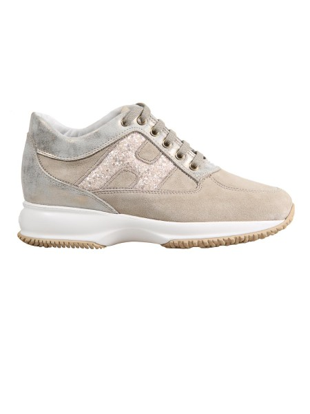 Shop HOGAN  Shoes: Hogan Interactive in suede with details in beige metallic leather. Upper in suede. Leather details. Side h in glitter. Visible stitching. Removable Fussbett upside 2 cm. Rubber sole. Fabric case included. Made in Italy.. HXW00N0S361IFZ-0QA2