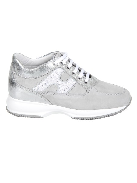 Shop HOGAN  Shoes: Hogan Interactive in suede with details in gray metallic leather. Upper in suede. Leather details. Side h in glitter. Visible stitching. Removable Fussbett upside 2 cm. Rubber sole. Fabric case included. Made in Italy.. HXW00N0S361IFZ-2AOP
