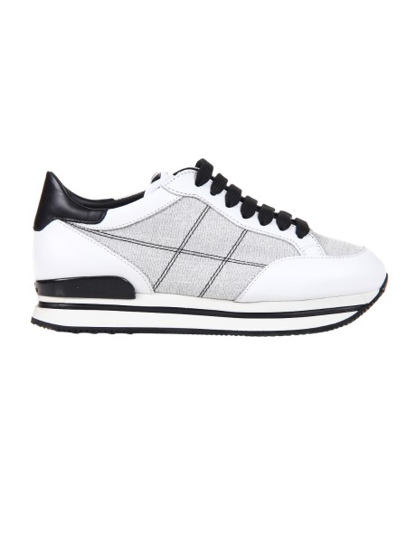 Shop HOGAN  Shoes: Hogan H222 sneakers in white leather. Leather upper. Glitter inserts. H stitched side. Removable Fussbett rise 1.5 cm approx. 2.5 cm ultralight sole in eva. Fabric case included. Made in Italy.. HXW2220K020IFJ-7964