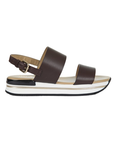 Shop HOGAN  Shoes: Hogan Sandal H257 in brown leather. Leather upper. Side fibber. 2.5 cm ultralight sole in eva. Fabric case included. Made in Italy.. HXW2570AI30IWE-S603
