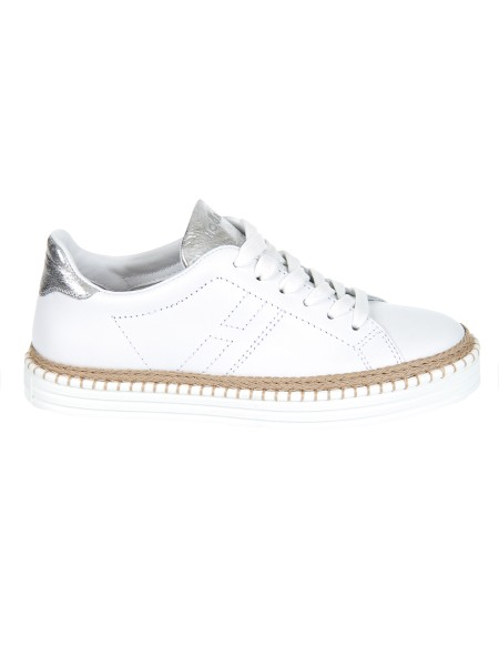 Shop HOGAN  Shoes: Hogan R260 sneakers in white leather. Leather upper. H stitched side. Inserts in metallic leather. Rope detail. Rubber sole. Fabric case included. Made in Italy.. HXW2600AD70IQE-0351