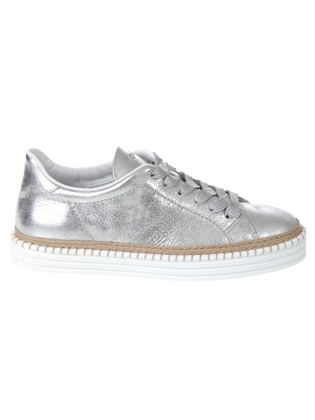 Shop HOGAN  Shoes: Hogan R260 sneakers in silver leather. Leather upper. Craquelé effect leather inserts. Painted details. Monogram Hogan stitched. Removable inner padding 2 cm. Rubber sole. Custom case. Made in Italy.. HXW2600AD70IQY-B200