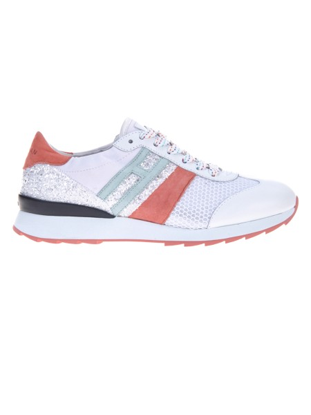 Shop HOGAN  Shoes: Running R261 sneakers in nubuck and leather. Upper in nubuck and leather. Inserts in glitter and technical fabric. Side H in nubuck. Rubber sole. Fabric case included.. HXW2610K960IXI-0QBR