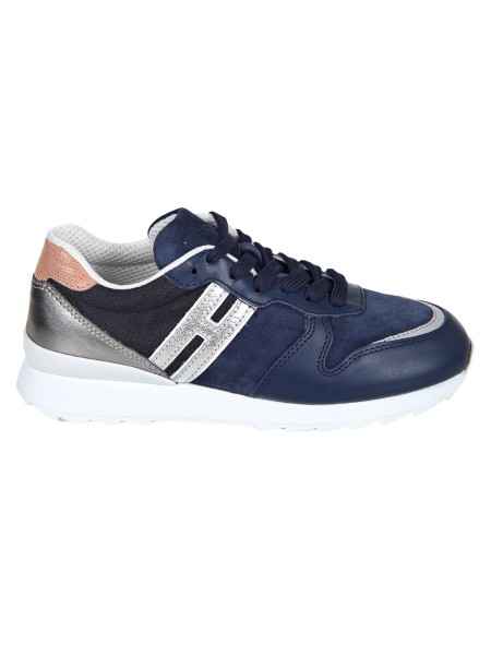 Shop HOGAN  Shoes: Hogan running R261 sneakers in nubuck and leather. Upper in nubuck and leather. Technical fabric inserts. Details in craquelé effect leather. Side H in metallic leather. Rubber sole. Fabric case included. Made in Italy.. HXW2610Y930IVB-0VXR
