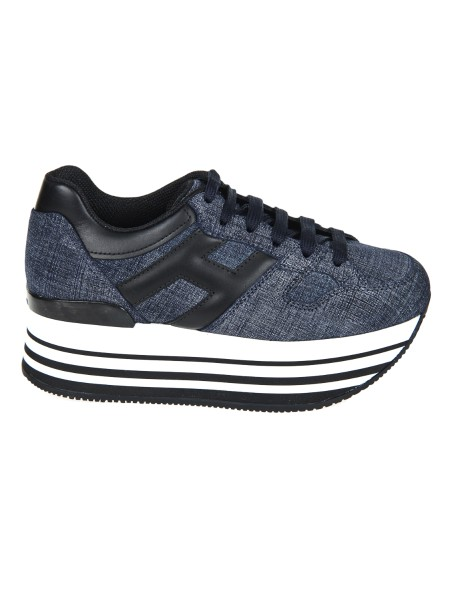 Shop HOGAN  Shoes: Hogan sneakers Maxi H 222, denim effect. Leather upper. H upholstered. Removable Fussbett rise 1.5 cm approx. Ultra-light eva sole 4,5 cm. Custom case. Made in Italy.. HXW2830T548I9R-337D