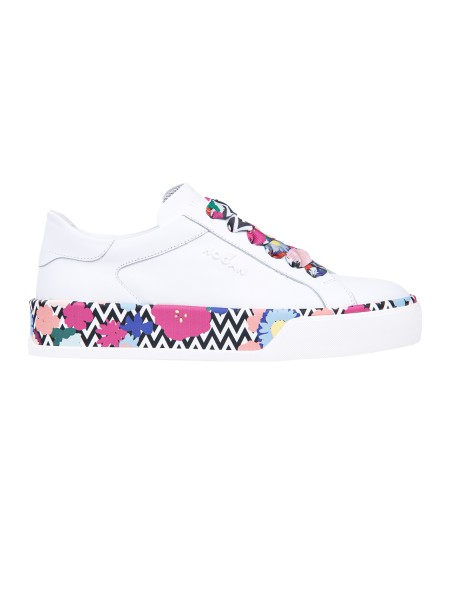 Shop HOGAN  Shoes: Hogan R 320 sneakers in white leather. Made in Italy. Leather upper. Floral details. Hogan logo in relief. Rubber sole. Fabric case included.. HXW3200AG80IAP-0P69