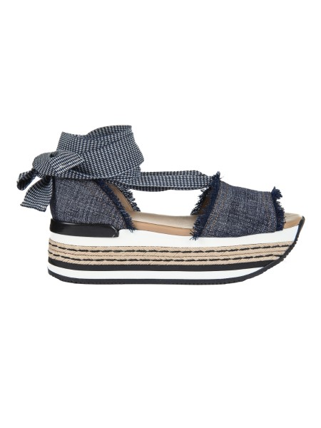 Shop HOGAN  Shoes: Hogan sandal Maxi H222 in canvas with fringed profiles, fabric ribbon to tie at the ankle. Upper in canvas. Profiles with fringes. Fabric ribbon. Ultralight maxi wedge with rope and leather inserts 5 cm approx. Rubber sole. Fabric case included. Made in Italy.. HXW3600AH40FEQ-U802