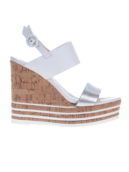 Shop HOGAN  Shoes: Hogan H361 sandal in leather with metallic detail. Made in Italy. Leather upper. Side fibber. Cork wedge, with leather details, max height 12 cm. Fabric case included.. HXW3610X822I81-0906
