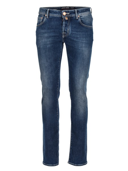 Shop JACOB COHEN  Jeans: Jacob Cohen denim jeans. Model: J622 comf. Closure with branded buttons. Leather patch. Composition: 98% cotton 2% elastane. Made in Italy.. J622 COMF 00990 W2-002