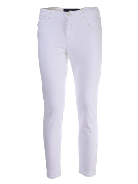Shop JACOB COHEN  Trousers: Jacob Cohen stretch white trousers with tone-on-tone polka dots. Zip and button closure. Composition: 96% cotton 4% elastane. Made in Italy.. KIMBERLY CROP 00984S-100