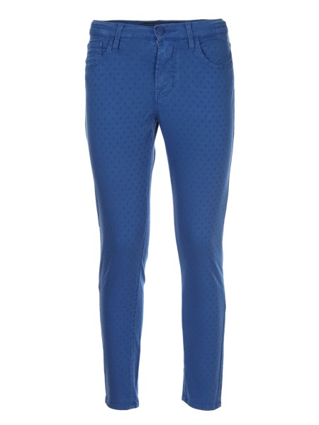Shop JACOB COHEN  Trousers: Jacob Cohen stretch blue trousers with tone-on-tone polka dots. Zip and button closure. Composition: 96% cotton 4% elastane. Made in Italy.. KIMBERLY CROP 00984S-887