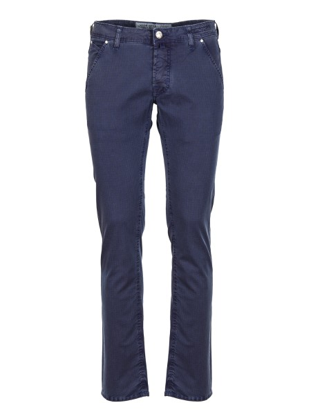 Shop JACOB COHEN Sales Jeans: Jacob Cohen cotton trousers with tone-on-tone micro pattern. Thread pockets Closure with branded buttons. Model: PW 613 comf. Composition: 97% cotton 3% elastane. Made in Italy.. PW613 COMF 01043 V-402