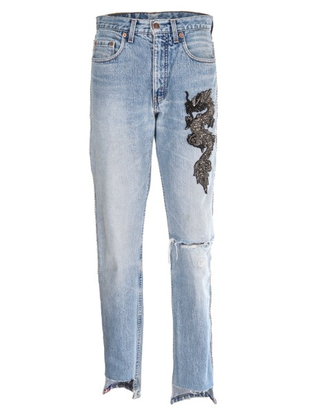 "Shop L'EDITION Sales Jeans: L' Edition "" boyfriend "" denim with slits, embroidery and side band. Fringed hem. Composition: 100% cotton. Made in Italy.. LE 569-R83"