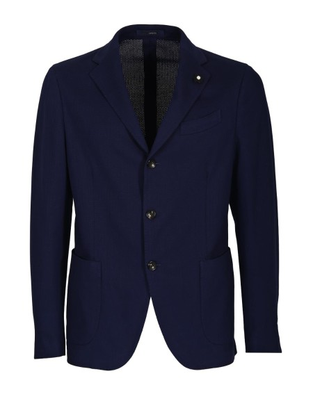 Shop LARDINI  Jacket: Lardini blue cotton blazer. Patch pockets. Three-button closure. Two side slits, rear. Composition. 100% cotton. Made in Italy.. EE902A V EEA50520-3