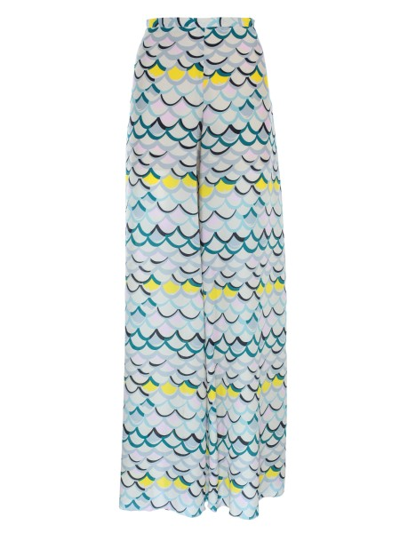 Shop M MISSONI  Trousers: M Missoni trousers, fantasy, in silk. High waist. Wide leg. Composition: 100% silk.. PD0RB0412PU-H08