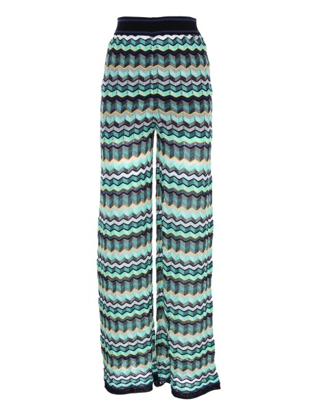Shop M MISSONI  Trousers: M Missoni trousers with exclusive zig zag pattern. Waist point, high, with elastic. Shape of the leg, wide. Composition: 42% cotton 24% linen 19% polyamide 10% viscose 5% polyester.. PD3KF03M 2NY-0BO
