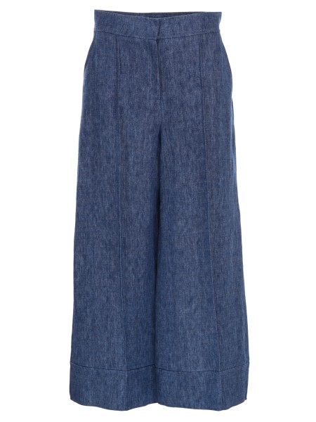 Shop M MISSONI  Trousers: M Missoni denim effect linen trousers. Very wide leg. High waist. Hem with maxi turn-ups. Composition: 100% linen.. PD3RB305 2MN-B01