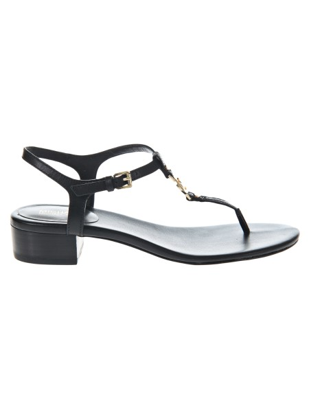 "Shop MICHAEL KORS  Shoes: Michael Michael Kors black ""Cayla mid"" thong, in leather. Heel height 4 cm. Golden logo. Ankle closure.. 40S8CYFS1L-001"