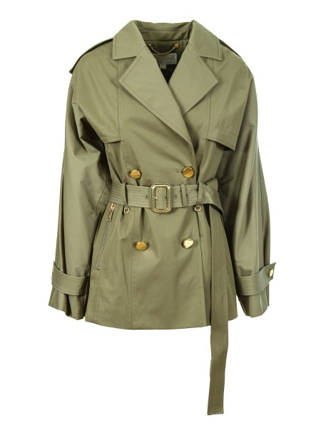 Shop MICHAEL KORS Sales Duster: Michael Michael Kors trench coat with jeweled buttons. Belt. Pockets with zip. Adjustable cuffs with buttons. Split, back, central. Composition: 56% cotton 44% polyester.. MF72HTTX36-305
