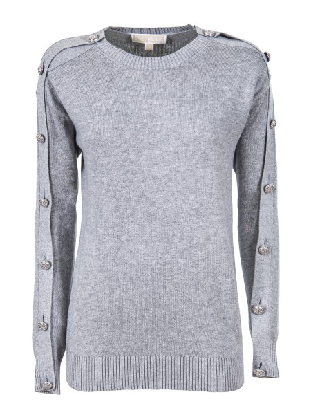 Shop MICHAEL KORS  Pullover: Michael Michael Michael Kors sweater with decorative buttons in viscose and cotton. Round neckline. Ribbed processing. Long sleeve. Ribbed hem and cuffs. Oversized fit. Composition: 53% cotton 40% viscose 7% nylon.. MH76NGEMP5-036