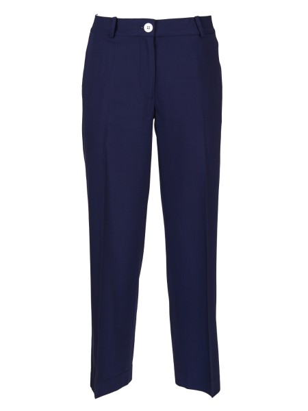 Shop MICHAEL KORS  Trousers: Michael Michael Kors trousers, blue, in stretch wool. Zip and button closure. Thread pockets. Crop length. Composition: 96% wool 4% elastane.. MS83GYZWH1-456
