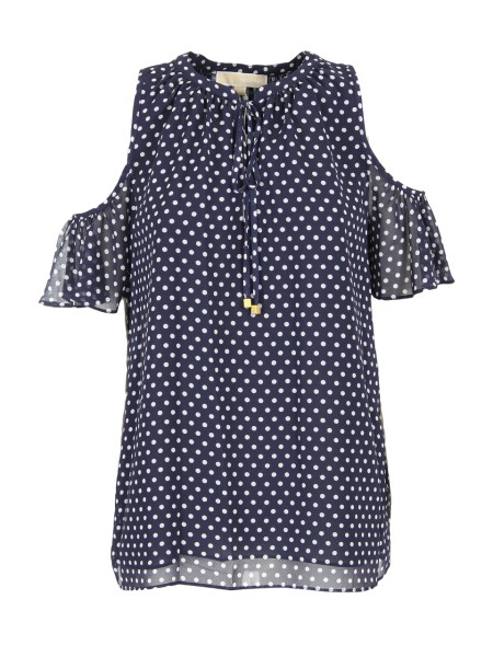 Shop MICHAEL KORS  Shirt: Michael Kors top with polka dots. Cold-shoulder. Round neckline. Short sleeves. Front bow. Composition: 100% polyester.. MS84LEJ8MP-428