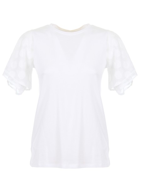 Shop MICHAEL KORS  T-shirt: Michael Kors white cotton T-shirt. Short flared sleeves with polka dot pattern. Round neckline. Composition: 55% cotton 45% modal.. MS85LSH6TF-100