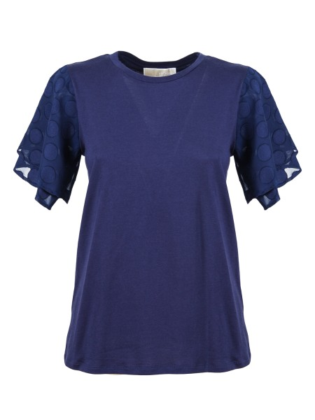Shop MICHAEL KORS  T-shirt: Michael Kors Blue cotton T-shirt. Short flared sleeves with polka dot pattern. Round neckline. Composition: 55% cotton 45% modal.. MS85LSH6TF-456