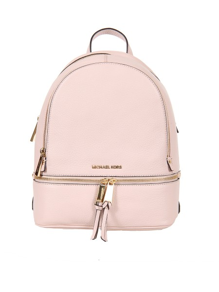"Shop MICHAEL KORS  Backpack: Michael Kors ""Rhea"" medium backpack in pink leather. 100% textured leather. Metal details in gold tones. Width 25.4 cm Height 29.8 cm Depth 11.4 cm. Lining: 100% polyester.. RHEA ZIP 30S5GEZB1L-187"