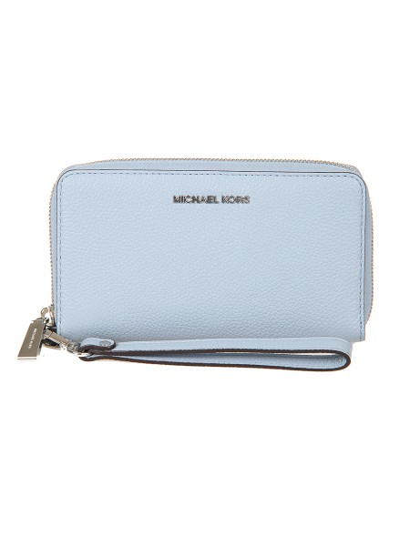 "Shop MICHAEL KORS  Wallet: Michael Michael Kors ""Mercer"" leather wrist clutch bag. Removable wrist strap. Zip closure on three sides. Details in silver colored metal. Inside: a cell phone pocket, a sack pocket, a zipped compartment, several credit card slots, a compartment with a window for ID. Length: 18cm Height: 10cm Depth: 2.5cm. Composition: 100% textured leather, full grain.. WRISTLETS 32F6SM9E3L-487"