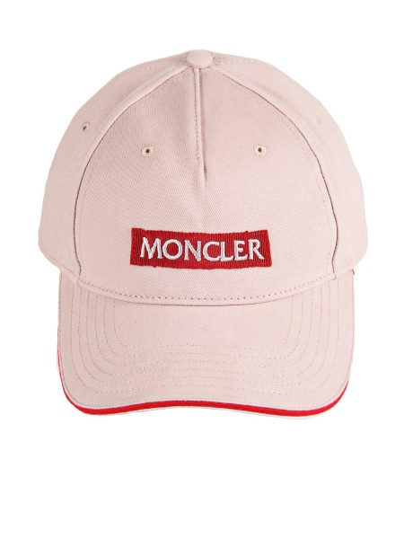 "Shop MONCLER  Hat: Moncler baseball cap in cotton gabardine. On the front, embroidered grosgrain motif with the word ""Moncler"". Red profile on the visor. On the back cord, with iconic colors of the Maison, for the adjustment of the circumference. Composition. 100% cotton.. 00391 0 0 0391B-529"