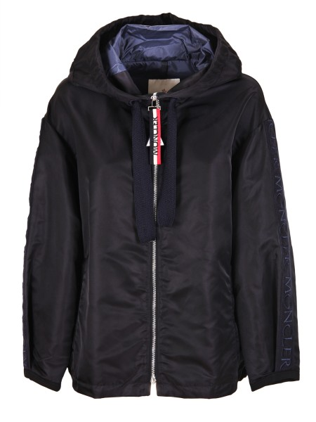 "Shop MONCLER  Short Coat: Moncler blue ""Cordier"" jacket. Gros-grain ribbon with logo on the sleeves. Hood with drawstring. Side pockets with zip. Internal slit pockets. Double slider zip closure.. 46600 04 539AY CORDIER -778"