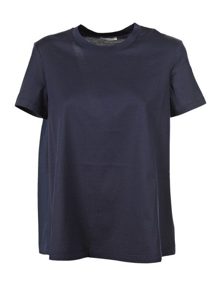 Shop MONCLER  T-shirt: Moncler Crew-neck cotton T-shirt. Poplin back with curled grosgrain pattern. Moncler logo in felt on the left sleeve. Composition: 100% cotton.. 80831 00 8390X -778