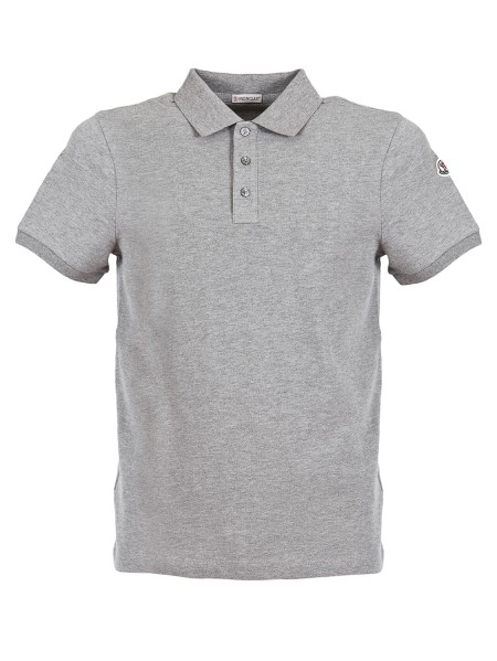 Shop MONCLER  Polo Shirt: Moncler short sleeve polo shirt in cotton piqué. Closure with mother-of-pearl buttons. Ribbed collar. Two-color undercollar with Moncler print in contrasting color. Moncler logo.. 83051 50 84556 -984