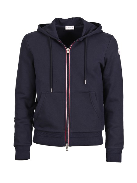 Shop MONCLER  Sweatshirt: Moncler cotton sweatshirt with hood. Hood with drawstring. Front closure with zip and tricolor ribbon. On the front, kangaroo pocket. Ribbed cuffs and hem tone on tone. Moncler logo. Slim fit. Composition: 100% cotton.. 84315 00 8098U -778