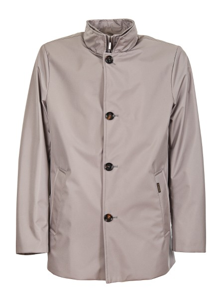 "Shop MOORER  Coat: Moorer ""Bernini"" jacket with straight line. Made of double dye shap memory fabric. Water-repellent. Side pockets. Front buttoning with double closure in buttons and zip. Made in Italy.. BERNINI GF-M"