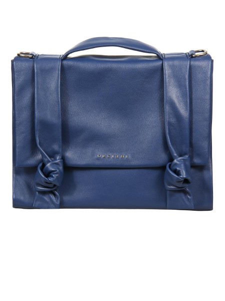 "Shop ORCIANI  Bag: Orciani ""Bella"" handbag in leather. Leather handbag. Decorative knots on the flap. Hand handle. Shoulder bag. Magnetic closure. Internal pocket with zip. Details of polished nickel finish. Dimensions: width 29 cm height 23 cm depth 12 cm. Made in Italy.. B02021 LTS LOTUS-BLU"
