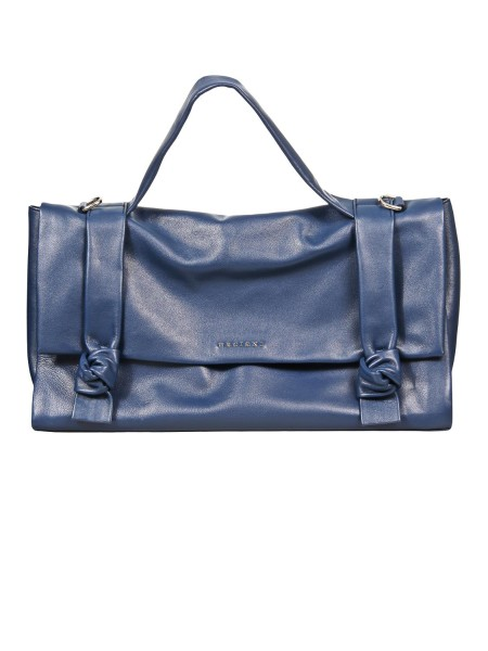 "Shop ORCIANI  Bag: Orciani ""Bella"" handbag in leather. Leather handbag. Decorative knots on the flap. Hand handle. Shoulder bag. Magnetic closure. Internal pocket with zip. Details of polished nickel finish. Dimensions: width 42 cm height 22 cm depth 17 cm. Made in Italy.. B02022 LTS  LOTUS-BLU"