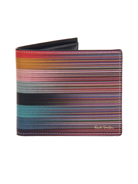 "Shop PAUL SMITH  Wallet: Paul Smith wallet with an iconic ""Signature Stripe"" and ""Artist Stripe"" striped pattern in hammered calfskin. Inside: eight slots for credit cards or business cards, a larger compartment for bills and receipts and two small side compartments for storing items. Made in Italy.. AUXC 4832 W954-96"