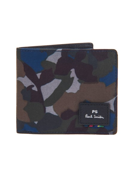 Shop PAUL SMITH  Portafogli: PS Paul Smith portafoglio in canvas con stampa camouflage. Interno: otto scomparti per carte e uno scomparto centrale per banconote.. AUXD 5321 W926-79