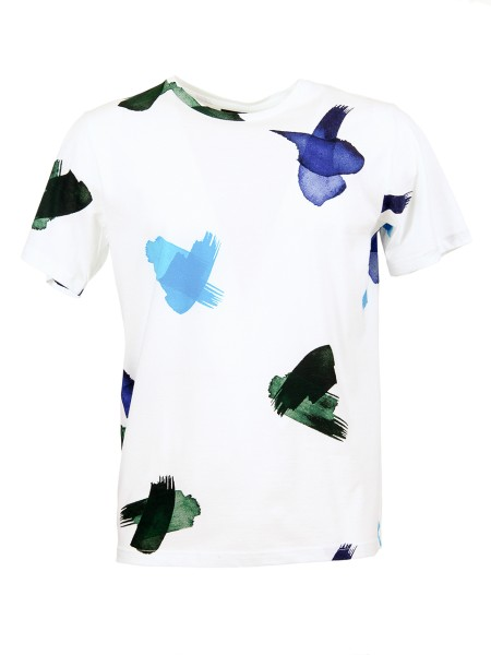 "Shop PAUL SMITH  T-shirt: Paul Smith white t-shirt in ""Brush Strokes"" print. Short sleeve. Semicircular neckline. 100% cotton. Regular Fit.. PUXD 051S 729-02"