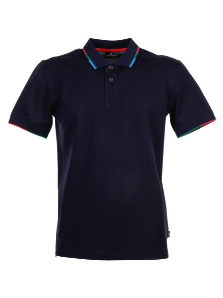 Shop PAUL SMITH  Polo Shirt: PS by Paul Smith blue polo shirt in cotton. Short sleeves. Profile of the contrast collar and sleeves. Closure with two buttons. Composition: 100% cotton.. PUXD 151L 724J-49