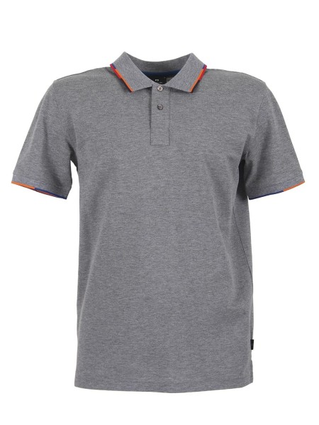Shop PAUL SMITH  Polo Shirt: PS by Paul Smith gray polo shirt in cotton. Short sleeves. Profile of the contrast collar and sleeves. Closure with two buttons. Composition: 100% cotton.. PUXD 151L 724J-72