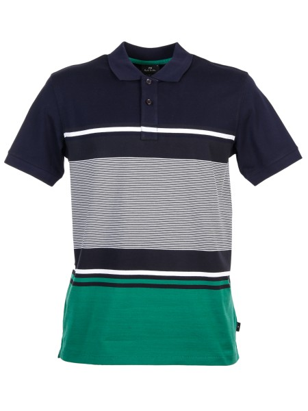 Shop PAUL SMITH  Polo Shirt: PS Paul Smith polo in navy blue cotton characterized by stripes in green, white and dark blue. Ribbed collar and cuffs. PS Paul Smith tongue on the hem. Pearlescent buttons. Side vents. Composition: 100% cotton.. PUXD 151L 742-49